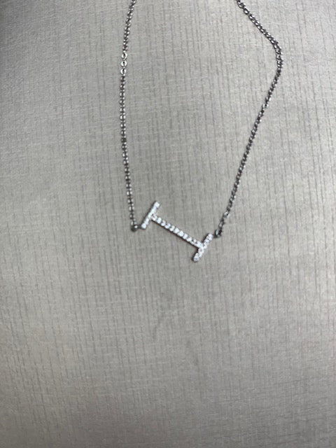 CZ SILVER INITIAL NECKLACE