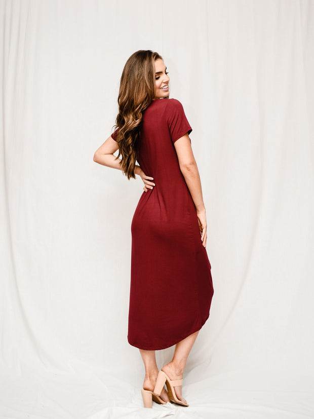 LOVE ME KNOT MAROON DRESS