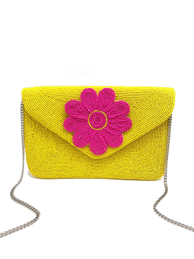 LAS PALMAS BEADED CLUTCH - YELLOW