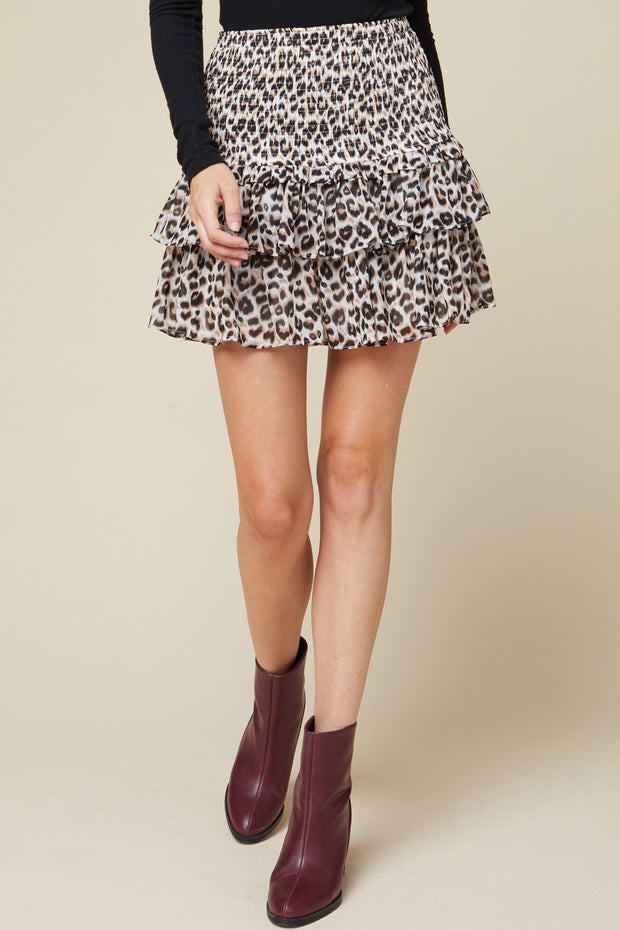 TINSLEY TIERED SKIRT - LEOPARD