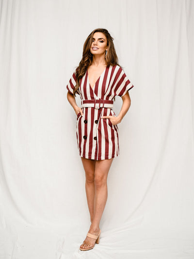 MAROONED MOOD STRIPED DRESS