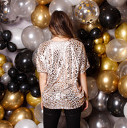 STAY NEAR ROSE GOLD LEOPARD TOP
