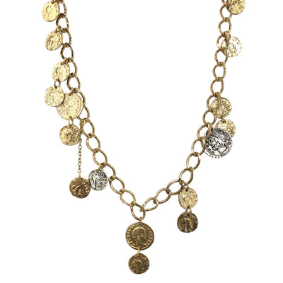 GOLD SINGLE STRAND ROMAN COIN NECKLACE