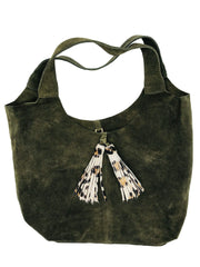 SUEDE PURSE - OLIVE/LEOPARD