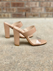 BAMBOO MANIA - NUDE OPEN TOE CLEAR STRAP THICK HEEL