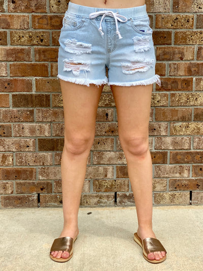 DREAMY DRAWSTRING DISTRESSED SHORTS - LIGHT WASH