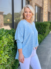 OH SO TRACIE BOATNECK EYELET BLOUSE - ASSORTED COLORS