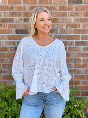 OH SO TRACIE V-NECK EYELET BLOUSE - ASSORTED COLORS
