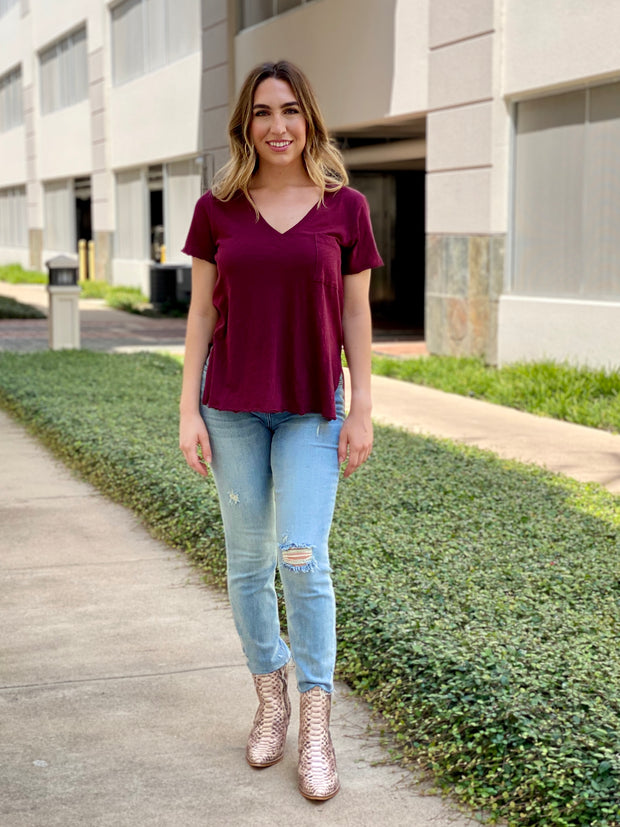 LIVE FOR IT BURGUNDY TOP