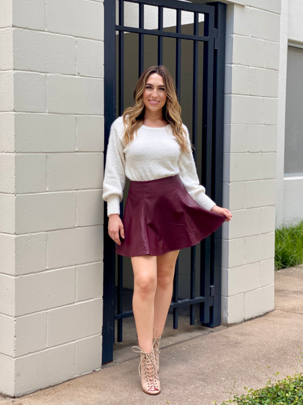 READY TO GO FAUX LEATHER SKIRT - WINE