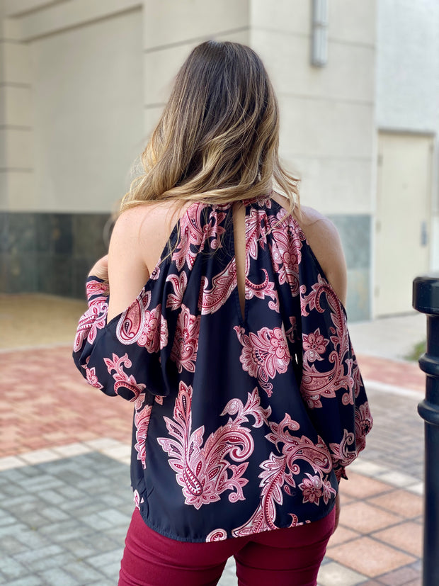 PAISLEY IN PARIS COLD SHOULDER TOP