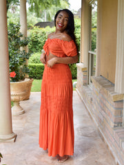 ONLINE EXCLUSIVE:  BEACH BABE ORANGE LINEN SET