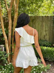 LOOK AT ME ONE SHOULDER DRESS - WHITE