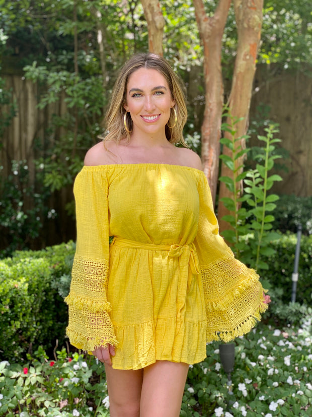 SUMMER ROMANCE OFF SHOULDER DRESS - YELLOW