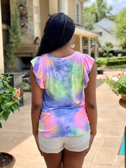 SUNSET TALKS TIE DYE RUFFLE TOP