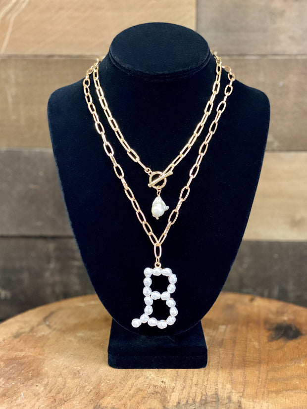 PEARL INITIAL LETTER NECKLACE
