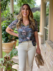 RANK IN STYLE CAMO SEQUIN TOP