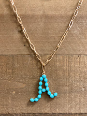 TURQUOISE BEAD INITIAL NECKLACE