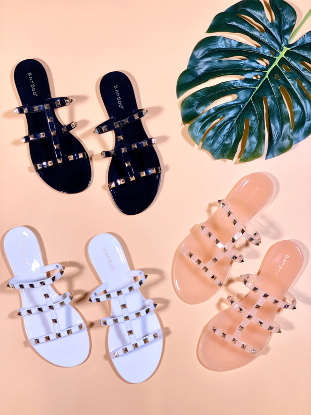 TOTAL STUD JELLY SANDAL - WHITE