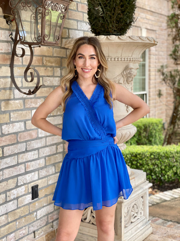 BRIGHT BLUE OUTLOOK SMOCKED DRESS