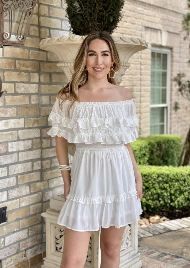 RUFFLES IN MY HEART OFF SHOULDER DRESS