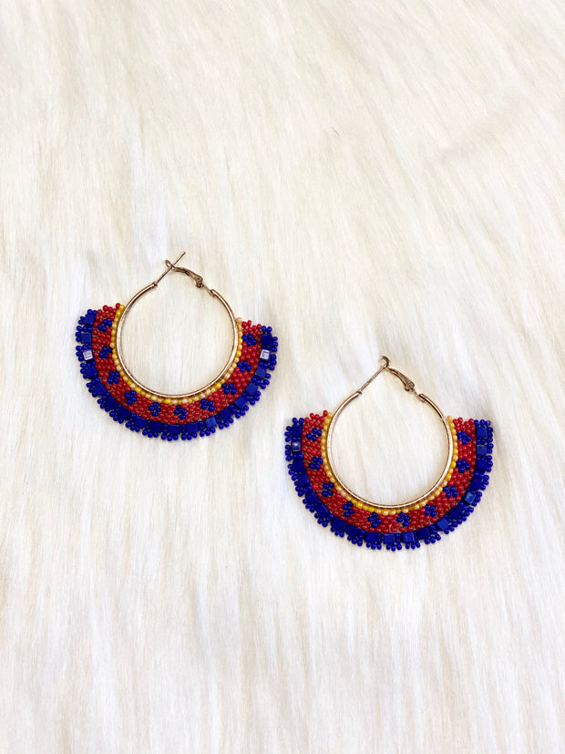 MAYA BEADED HOOP EARRING