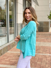 BLUE SHERBET V-NECK LINEN TOP