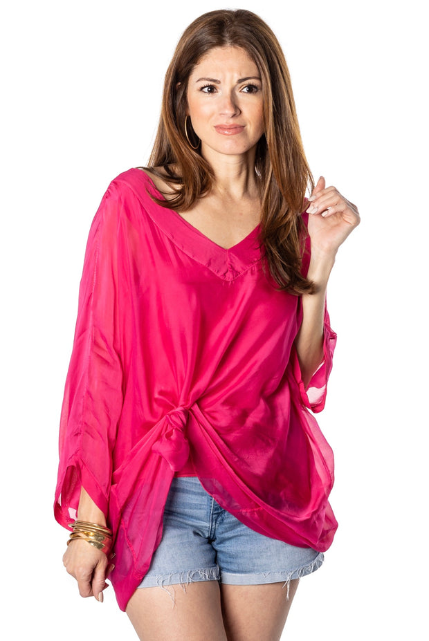 SOFIA: DOUBLE V-NECK SILK - LONG