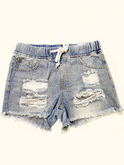 DREAMY DRAWSTRING DISTRESSED SHORTS - MED WASH
