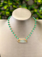 BAR STONE & BEADED NECKLACE