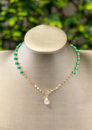SHANA BEADED NECKLACE - MINT, WHITE OR CLEAR