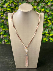 NICOLE DRUZZY BEADED TASSEL NECKLACE