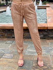 SHIMMER THE DAY AWAY SEQUIN JOGGERS