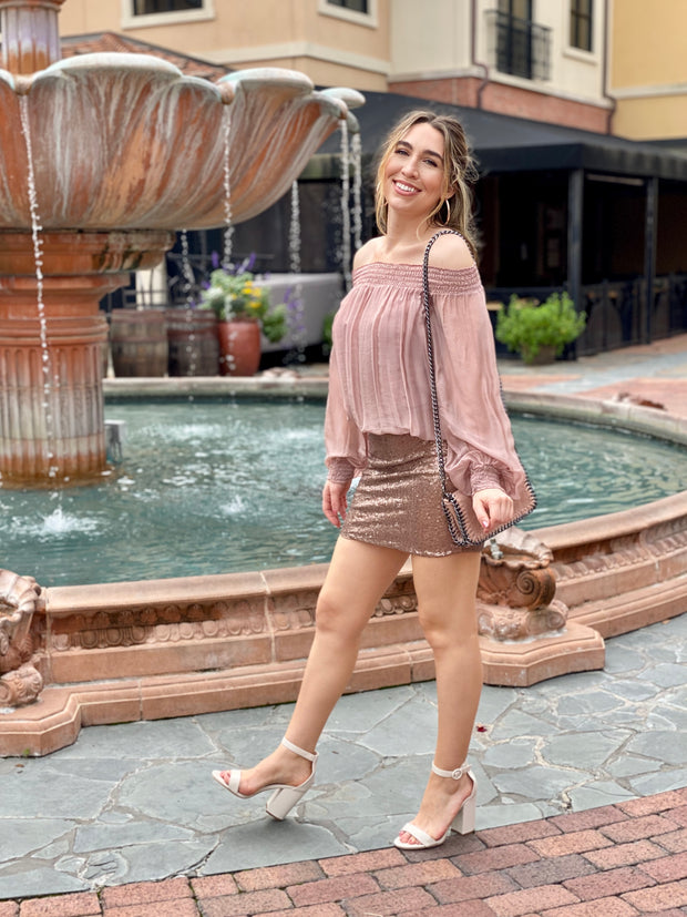 SOFIA:  OFF THE SHOULDER BLUSH TOP