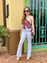 KAMRYN STRIPED ONE-SHOULDER TOP