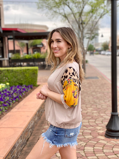 WILD ABOUT FLORAL DOLMAN TOP