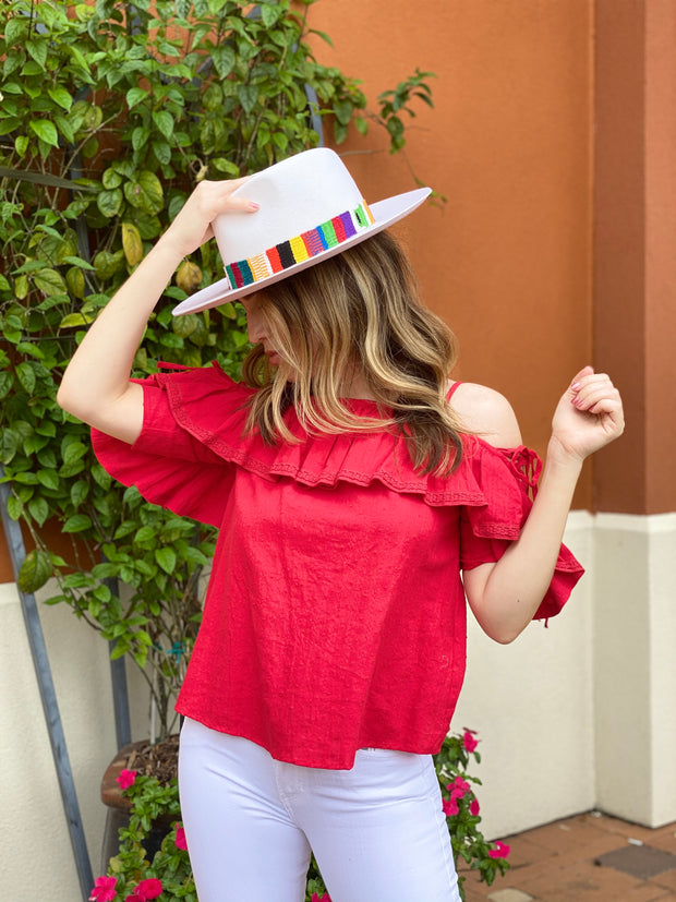 RIGHT TIME RED PLACE COLD SHOULDER TOP