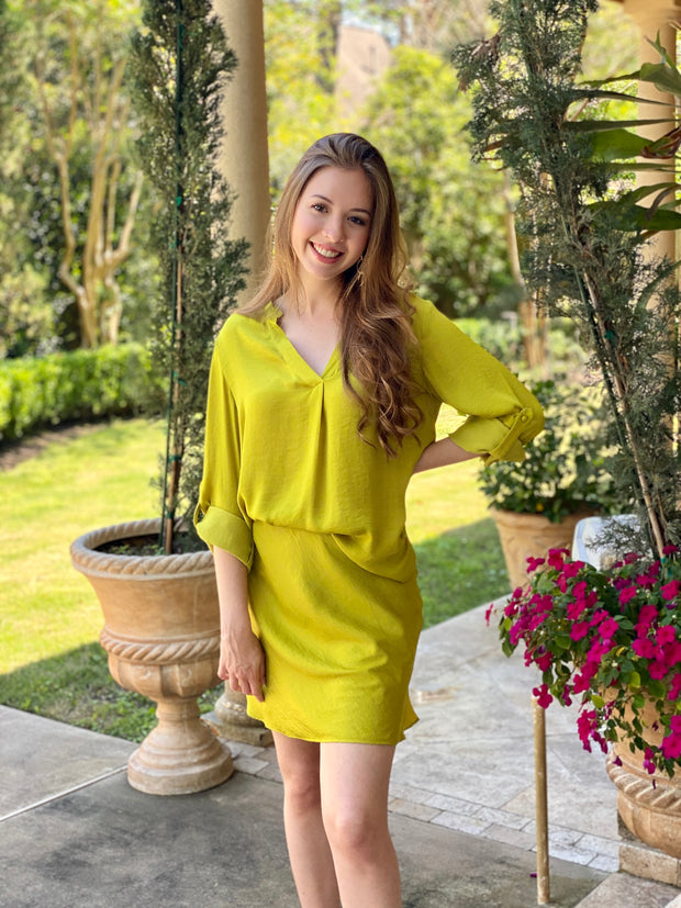 LIME SQUEEZE LONG SLEEVE V-NECK BLOUSE