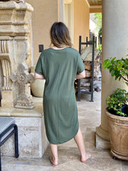 LOOK FOR COMFORT OLIVE SHIRT DRESS