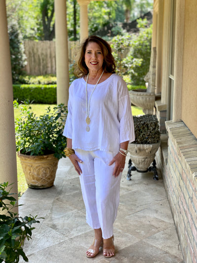 WHITE ICE SHERBET LINEN SCOOP NECK BLOUSE