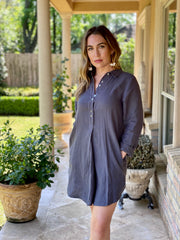 FOCUS ON THE GOOD CHARCOAL LINEN DRESS