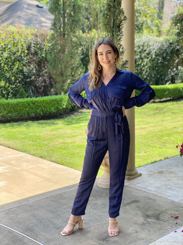 KIARA NAVY SATIN JUMPSUIT