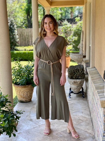 POWER PLAY OLIVE LINEN JUMPSUIT