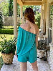 GET NOTICED ONE SHOULDER JADE ROMPER