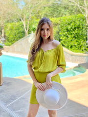 LIME SQUEEZE FRONT TIE BLOUSE