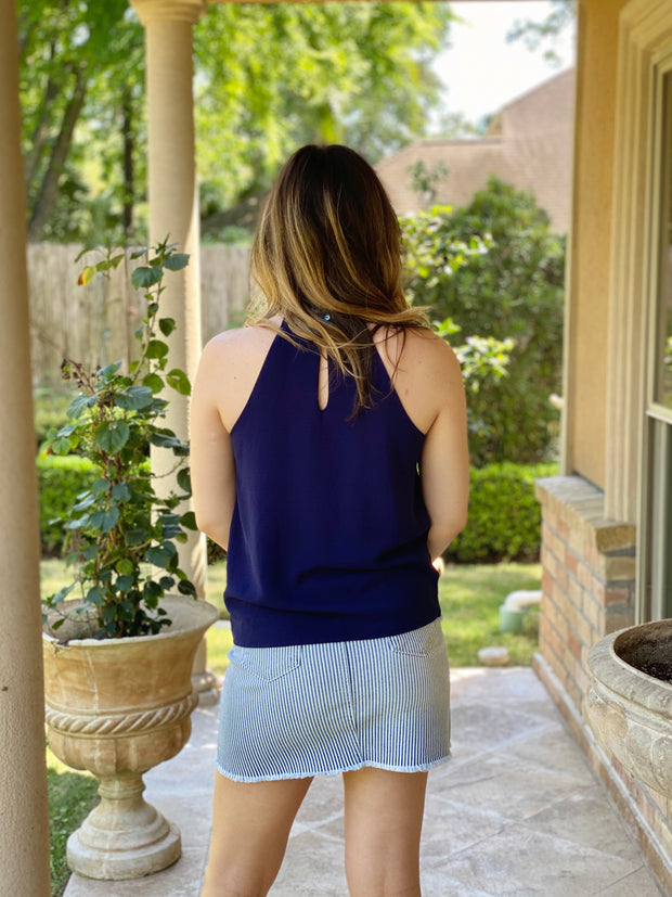 FOREVER NAVY TIE FRONT CAMI