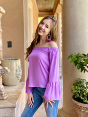 MOST DAYS LAVENDER OFF SHOULDER TOP