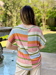 ALL THE COLORS STRIPED POCKET TEE