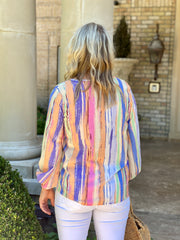 HAPPY STATE MULTI STRIPE BLOUSE