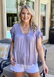 LILAC LOVE STORY SATIN BLOUSE